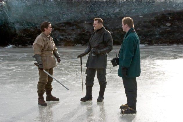 Batman Begins Christian Bale Liam Neeson Set Photo