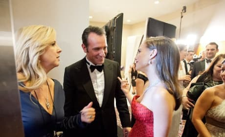 Jean Dujardin and Natalie Portman Backstage at Oscars