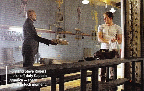 Chris Evans and Samuel L. Jackson in The Avengers