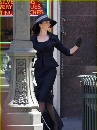Anne Hathaway on the Dark Knight Rises set