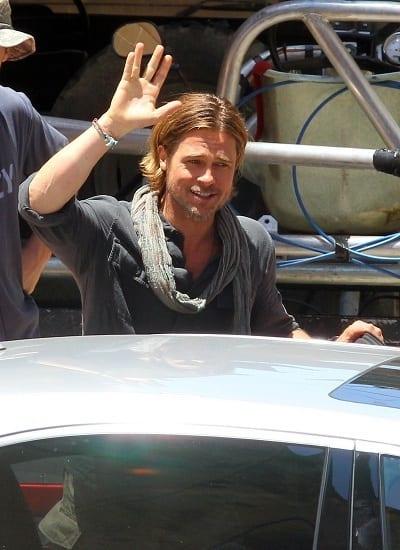 Brad Pitt on World War Z Set