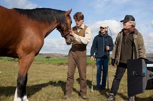 Steven Spielberg and Jeremy Irvine in War Horse
