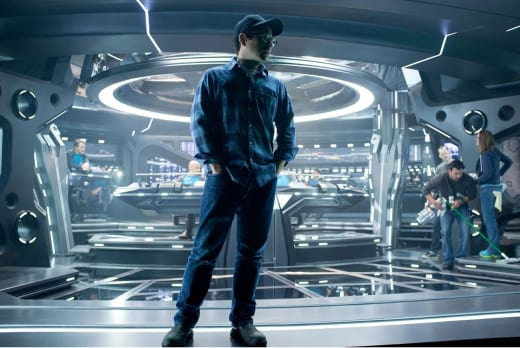 J.J. Abrams on the set of Star Trek Into Darkness