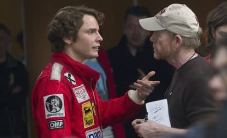 Daniel Bruhl and Ron Howard Rush Set Photo