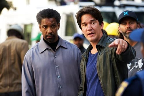 Denzel Washington and Daniel Espinosa on the Safe House Set