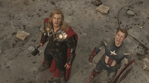 Chris Evans and Chris Hemsworth in The Avengers