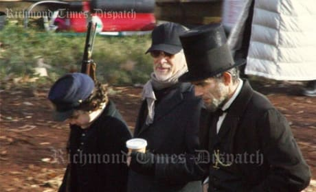 Steven Spielberg and Daniel Day Lewis on the Set of Lincoln