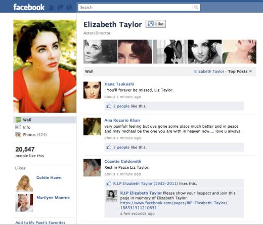 Elizabeth Taylor Facebook Page
