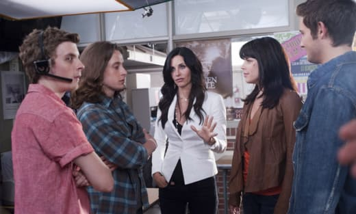 Courteney Cox and Neve Campbell in Scream 4