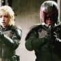 Olivia Thirlby and Karl Urban in Dredd