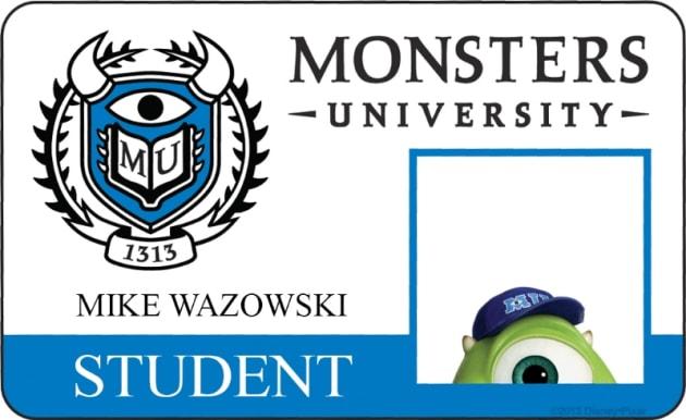 Mike Wazowski Monsters University Student ID
