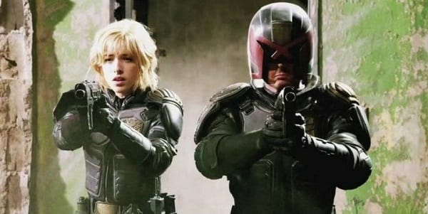 Olivia Thirlby and Karl Urban in Dredd