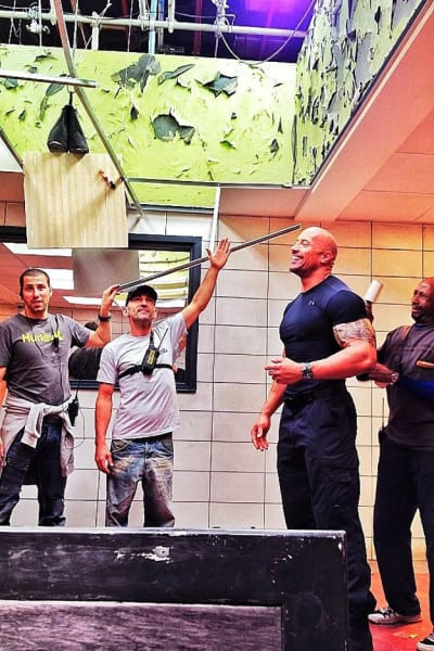 Dwayne Johnson Fast Six Set Photo