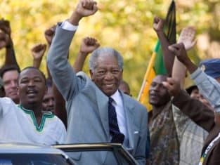 Mandela Raises a Fist in Victory