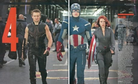 Jeremy Renner, Chris Evans and Scarlett Johansson in The Avengers