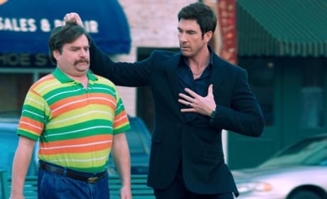 Dylan McDermott and Zach Galifianakis in The Campaign