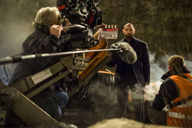 Dave Bautista on the Set