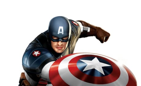 Chris Evans Gives the Captain America Costume a Thumbs Up
