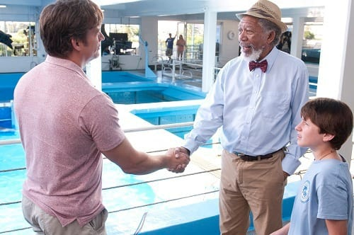 Morgan Freeman and Nathan Gamble in Dolphin Tale
