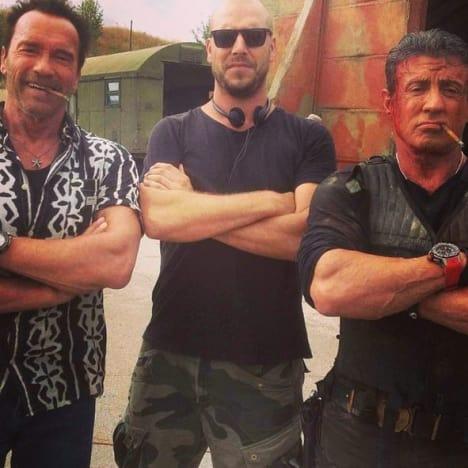 The Expendables 3 Set Sylvester Stallone Arnold Schwarzenegger