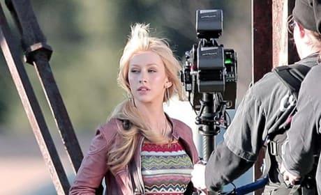 Christina Aguilera on set Burlesque 3