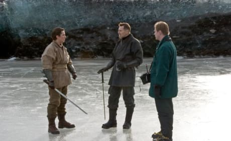 Batman Begins Christian Bale Liam Neeson Set Photo