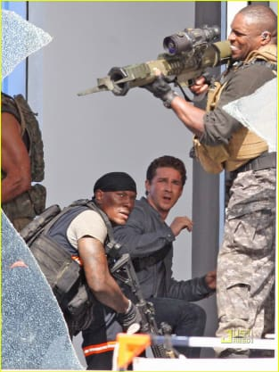 Shia and Tyrese Take Cover