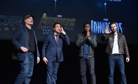 Kevin Feige Robert Downey Jr Chadwick Boseman Chris Evans Photo