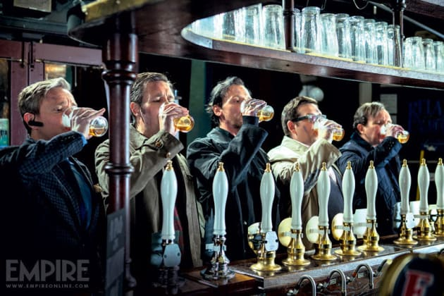The World's End Cast Drinks Beer