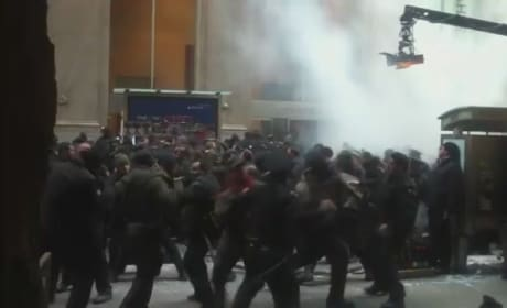 The Dark Knight Rises Video: Brawling on Wall Street