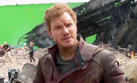 Chris Pratt Guardians of the Galaxy Set Photo