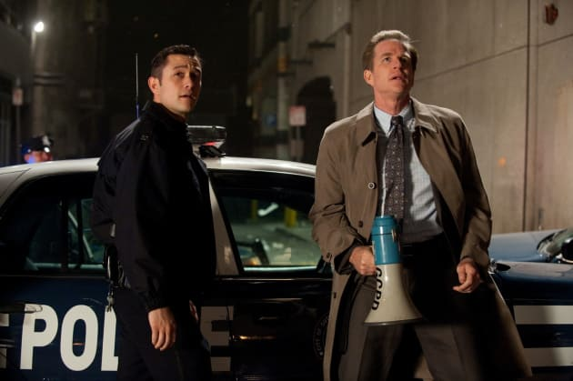 The Dark Knight Rises Still Joseph Gordon-Levitt and Matthew Modine