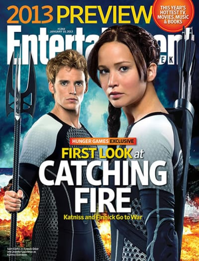 Sam Claflin Jennifer Lawrence Catching Fire EW Cover