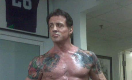 Stallone Takes a Workout Break to Talk Expendables