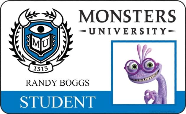 Randy Boggs Monsters University Student ID