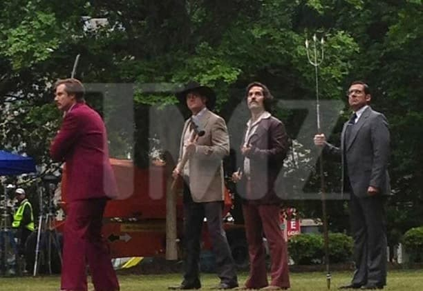 anchorman 2 brawl scene previewed in new set photo movie