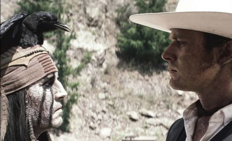 The Lone Ranger Reveals New Stills: Johnny Depp with a Crow on his Head