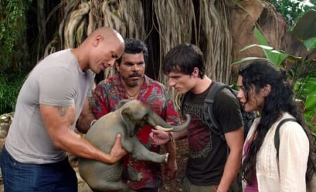 Dwayne Johnson, Josh Hutcherson, Luis Guzman and Vanessa Hudgens in Journey 2