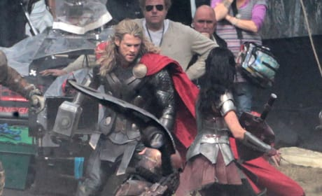 Chris Hemsworth and Jaimie Alexander Thor: The Dark World Set Photo