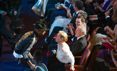 Pharrell Meryl Streep at the Oscars