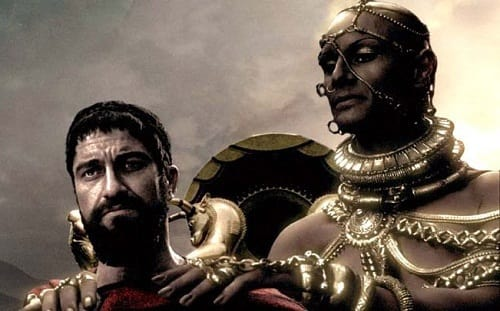 Gerard Butler and Rodrigo Santoro in 300