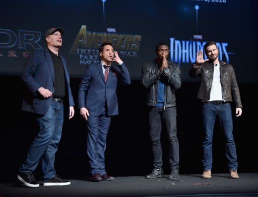 Kevin Feige Robert Downey Jr Chadwick Boseman Chris Evans Photo