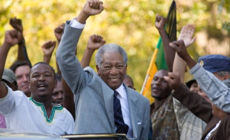 Mandela Raises a Fist in Victory