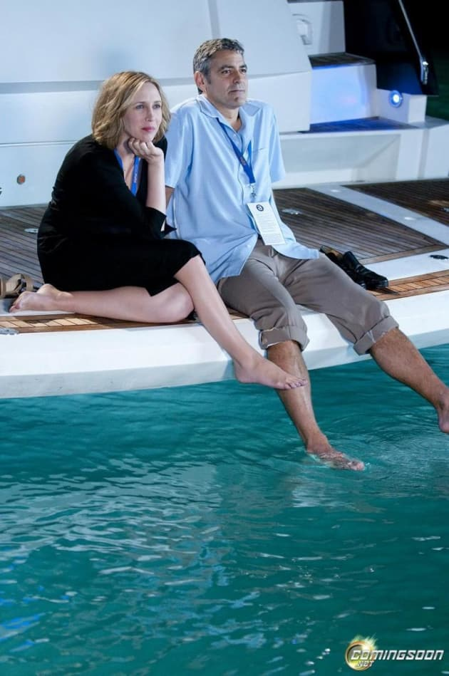 Clooney and Farmiga on a Boat