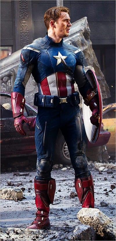 Chris Evans is Captain America in The Avengers