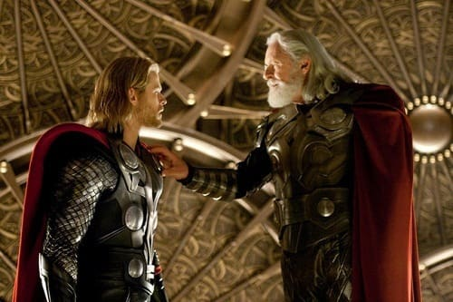Chris Hemsworth and Anthony Hopkins in Thor