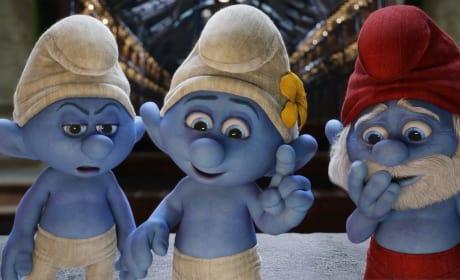 Papa Smurf and The Smurfs in The Smurfs 2