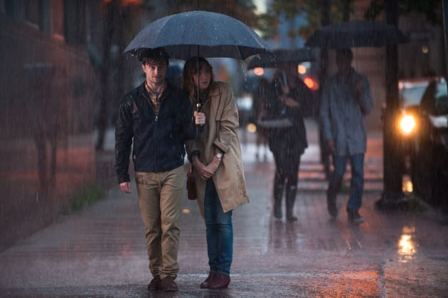 Daniel Radcliffe Walks Zoe Kazan in the Rain