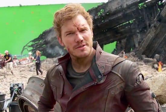 Chris Pratt Guardians of the Galaxy Set Photo