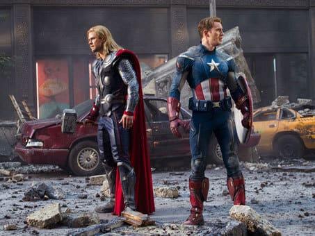 Chris Hemsworth and Chris Evans in The Avengers